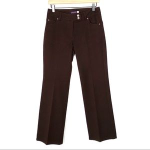 Ecru brown straight leg mid rise dress pants
